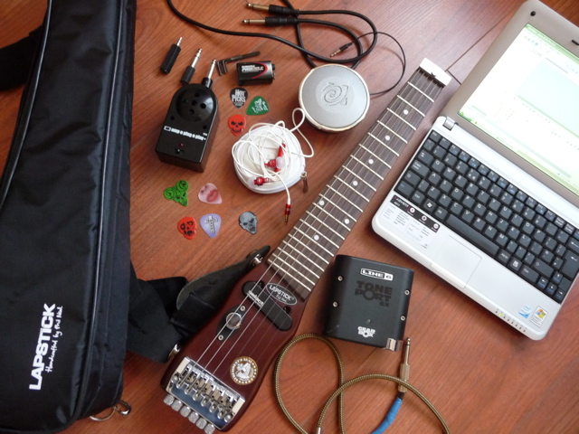 Lapstick travel guitar and accessories